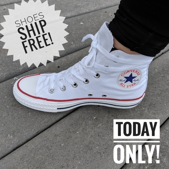 26b323f8d41 Converse White Chuck Taylor High Top Sneaker❤ . Listing Price   40. Your  Offer